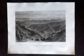 Fisher (Pub) 1844 Print. Mussooree and the Dhoon from Landour, Himalayas, India